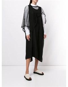Деконструированное платье с сетчатыми рукавами Y's