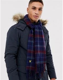 Сине красный шарф из овечьей шерсти с принтом тартан Lyle & scott