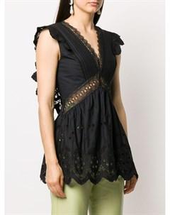 Блузка без рукавов с вышивкой Self-portrait