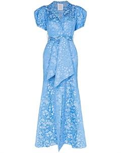 Жаккардовое платье макси с пышными рукавами и цветочным узором Rosie assoulin