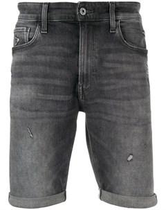 Джинсовые шорты с эффектом потертости G-star raw