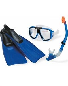 Плавательный набор Лётчик маска трубка ласты от 8 лет Intex