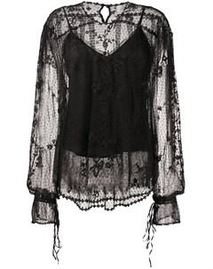 Полупрозрачная блузка с кружевным узором Preen by thornton bregazzi