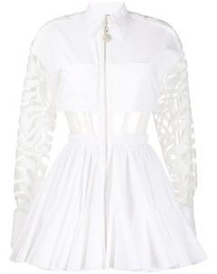 Расклешенное платье мини с прозрачными вставками David koma