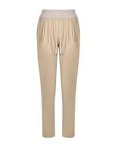 Бежевые шелковые брюки с люрексом Panicale