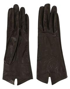 перчатки с логотипом CC и декоративной строчкой Chanel pre-owned