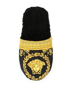 Слиперы с узором Barocco и декором Medusa Versace home