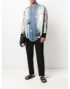 Куртка рубашка со вставками из денима Greg lauren