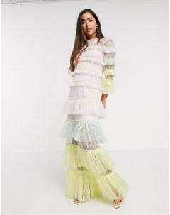 Многослойное кружевное платье макси By malina
