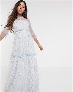 Голубое платье макси с вышивкой By malina
