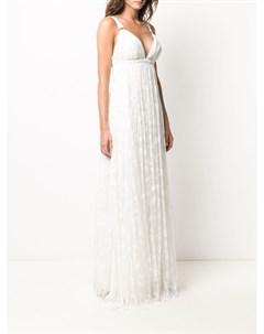Платье из тюля с вышивкой и V образным вырезом Maria lucia hohan