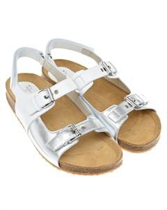Белые босоножки с серебристыми вставками детские Il gufo shoes