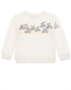 Белый свитшот с принтом велосипедисты детский Emile et ida