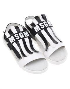 Босоножки в черно белую полоску детские Msgm