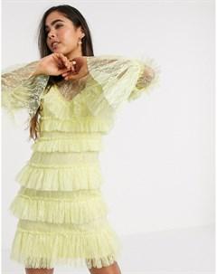 Многослойное кружевное платье мини By malina