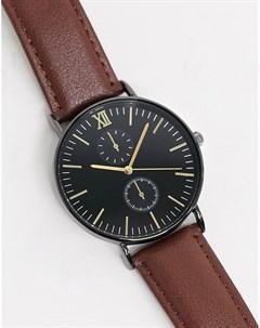 Часы с коричневым кожаным ремешком и хронографом Topman