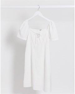 Белое летнее платье с пышными рукавами Pimkie