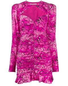 Платье с абстрактным принтом и сборками Alessandra rich