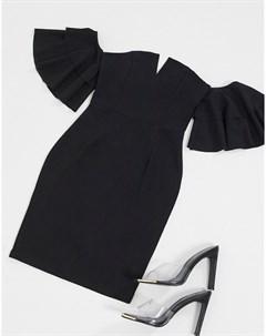 Черное платье мини с открытыми плечами Ax paris