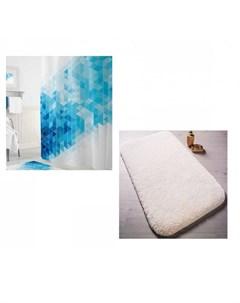 Коврик для ванны Miami 57х100 см со шторами для ванн Blue Squares Tropikhome Confetti