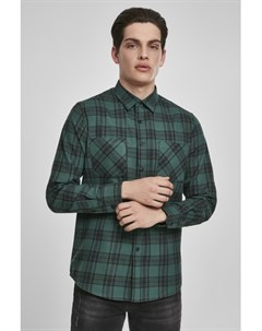 Рубашка Checked Flanell Shirt 7 Dark Green Black S Urban classics