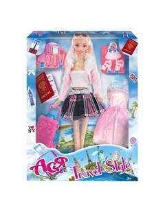 Кукла Ася Блондинка в розовой кофте Путешественница Toys lab