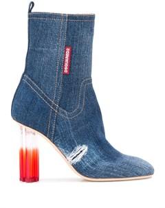 джинсовые ботильоны на высоком каблуке Dsquared2