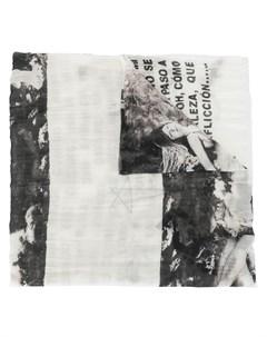 шарф с графичным принтом и бахромой Rick owens drkshdw