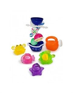 Набор игрушек для ванной Пират с Мельницей Лейкой и Формочками Яигрушка