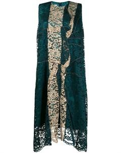 Платье асимметричного кроя с кружевными вставками Antonio marras