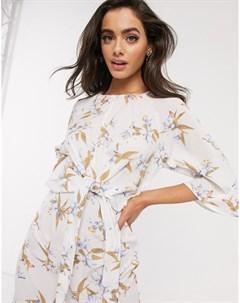 Платье с рукавами летучая мышь и цветочным принтом Ax paris