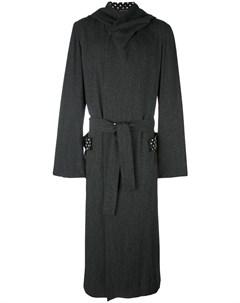 длинное пальто с капюшоном Yohji yamamoto pre-owned