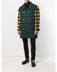 клетчатое двубортное пальто 1990 х годов Versace pre-owned