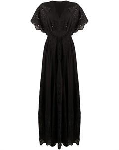Платье макси с вышивкой и вырезами Alberta ferretti
