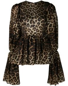 блузка с рукавами колокол и леопардовым принтом Christian siriano