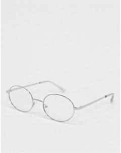 Очки в круглой серебристой оправе с прозрачными стеклами Asos design