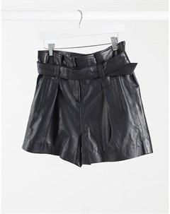 Черные кожаные шорты с присборенной талией Muubaa