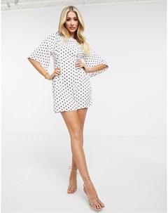 Платье в горошек с оборками Ax paris