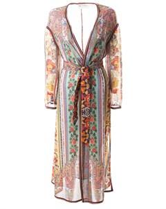 Шелковый халат с принтом Etro