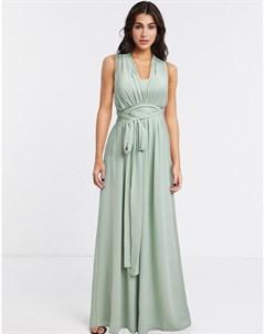 Светло зеленое платье макси с перекрестами на спине и завязкой Goddiva