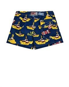 Синие шорты для купания с принтом желтые подводные лодки детские Saint barth