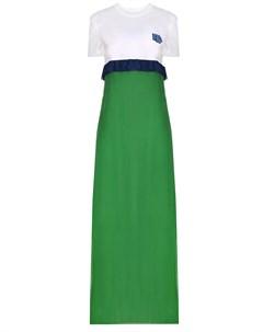 Платье макси в пол с принтом Prada