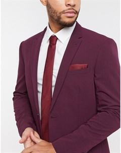 Бордовый галстук и платок для пиджака Topman