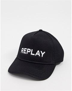 Черная бейсболка с логотипом Replay