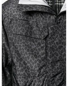 Куртка с капюшоном и леопардовым принтом White mountaineering