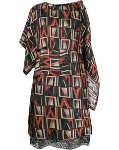 Платье асимметричного кроя с принтом Antonio marras