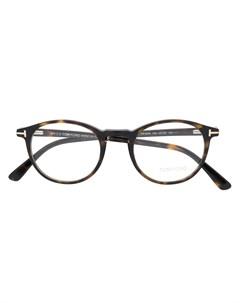 Очки в круглой оправе черепаховой расцветки Tom ford eyewear