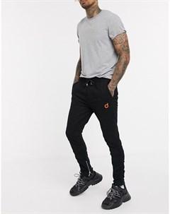 Черные брюки скинни со сборками Blood brother