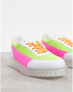 Желто розовые низкие кроссовки с прозрачной подошвой Joshua sanders