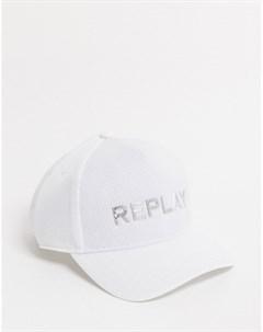 Белая бейсболка с логотипом Replay